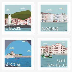 Assortiment de 4 affiches Côte Basque, Ciboure, Bayonne, Socoa, Saint-Jean-de-Luz