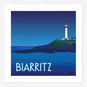 Affiche de Biarritz son phare vue de nuit